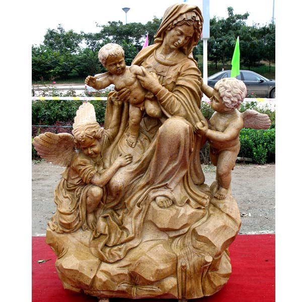 Catholic madonna and child angel outdoor statues for church decoration TCH-78