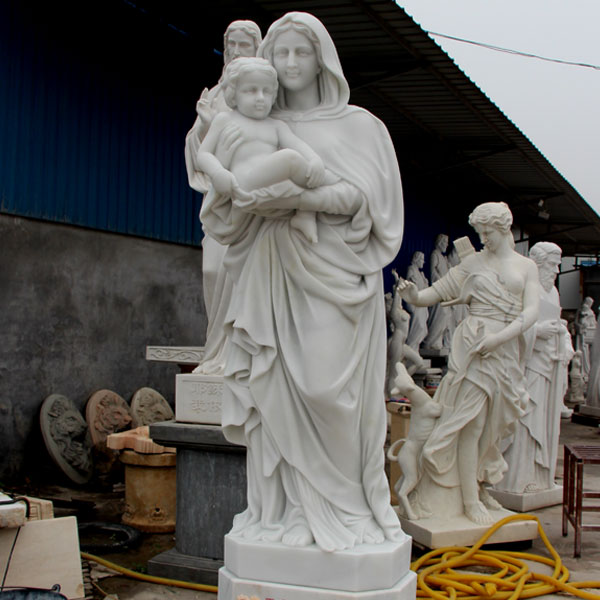 Religious garden statues of white Madonna and Christ statues for sale TCH-81