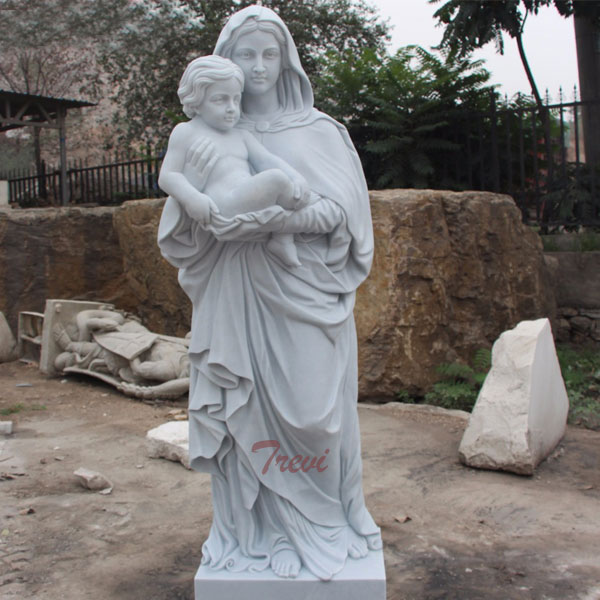 White marble Madonna with child garden statues for outdoor church TCH-80