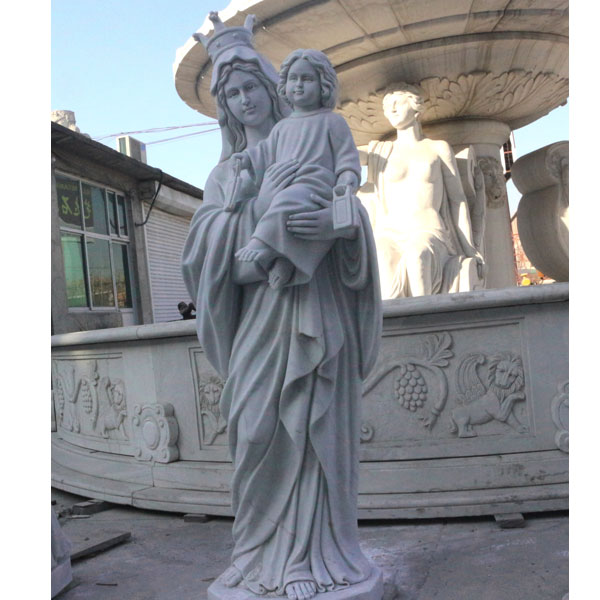Vintage madonna outdoor garden religious marble statues for sale TCH-87