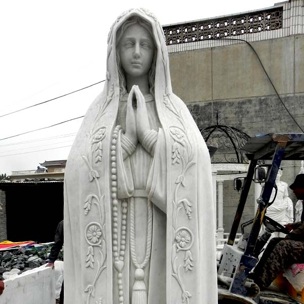 Virgen de fatima pilgrim statue with rosary beads religious garden sculptures for sale TCH-67