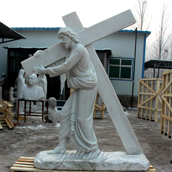 Life Sized Marble Jesus Carries the Cross Sculpture for Sale CHS-290