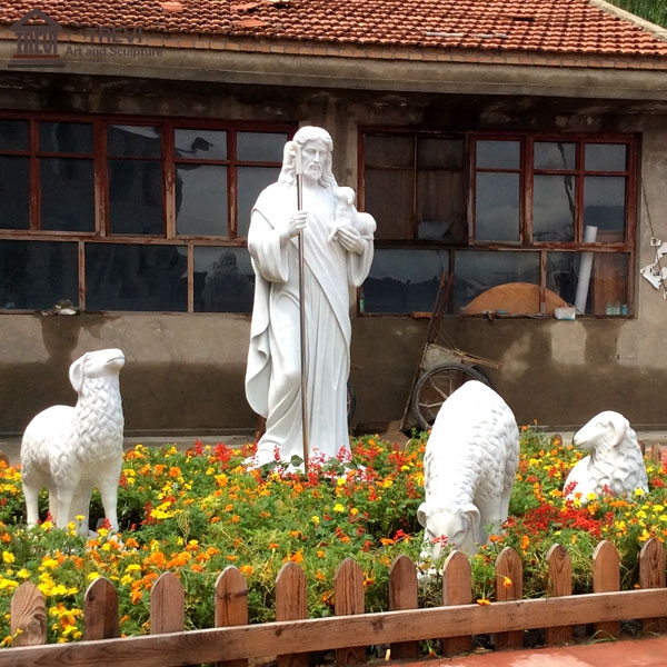 Garden Decoration Marble Shepherd Jesus and Flock Sculpture for Sale CHS-603