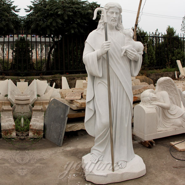 Exquisite White Marble Jesus and Lamb Sculpture for Sale CHS-292