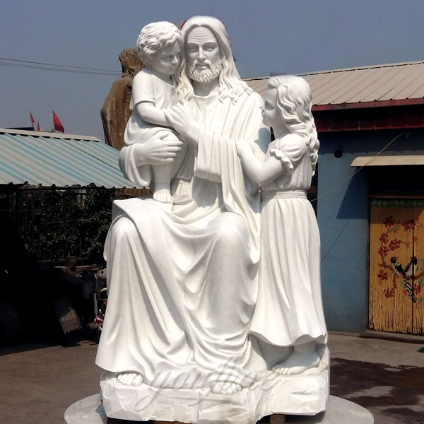 Garden Courtyard Decoration Marble Jesus and Children Sculpture for Sale CHS-296