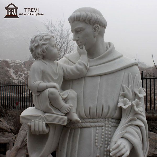 Catholic Marble Saint Anthony and Baby Jesus Statue for Sale CHS-253