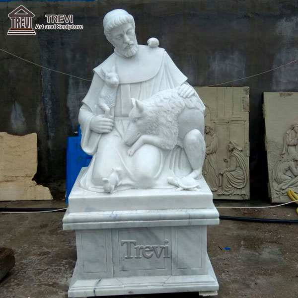Catholic Marble Saint Francis and Animal Sculpture for Sale CHS-255